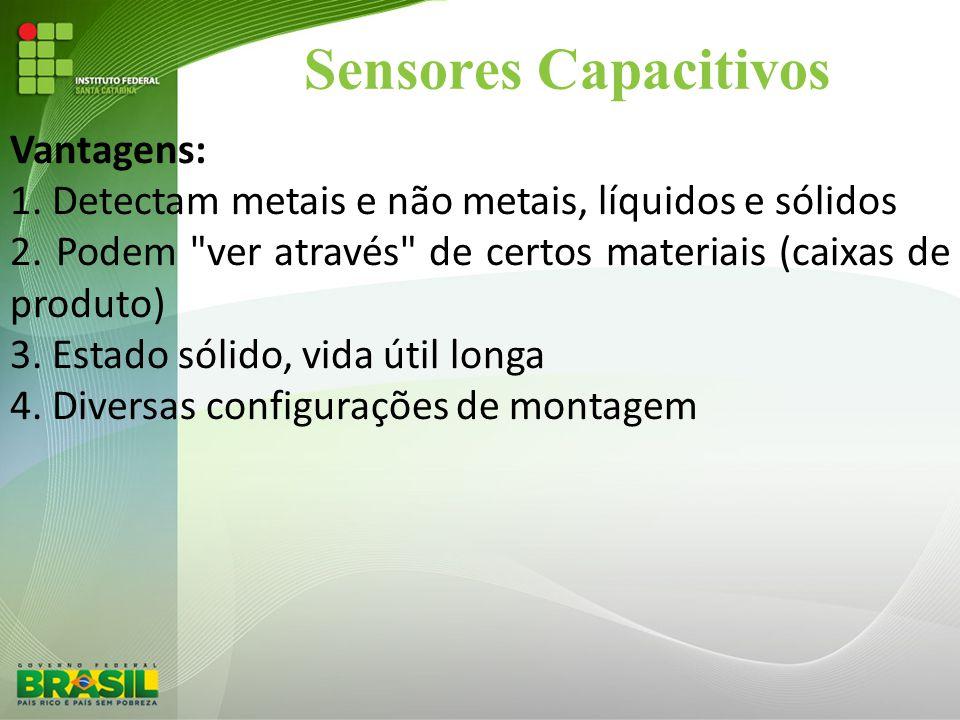 Sensores Capacitivos Vantagens: 1. Detectam metais e não metais, líquidos e sólidos 2. Podem