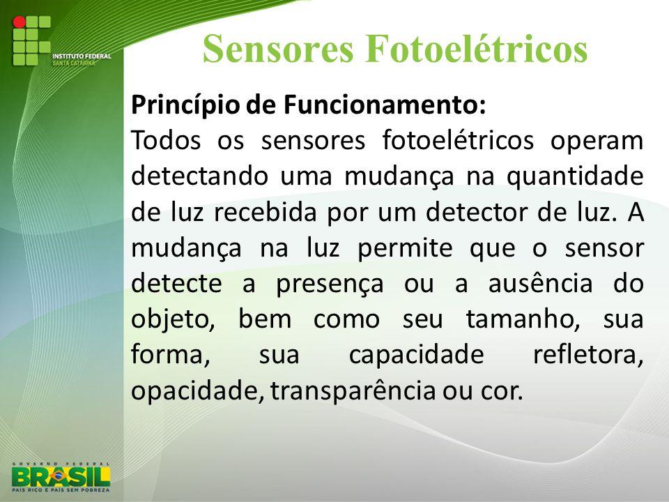 Sensores Fotoelétricos Princípio de Funcionamento: Todos os sensores fotoelétricos operam detectando uma mudança na quantidade de luz recebida por um