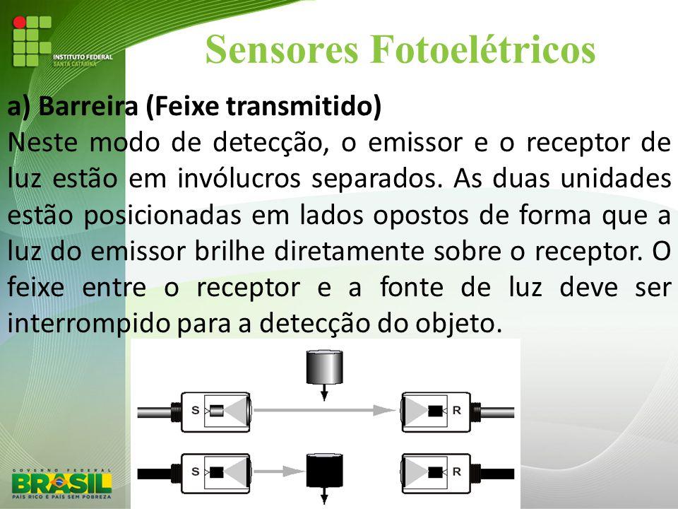 Sensores Fotoelétricos a) Barreira (Feixe transmitido) Neste modo de detecção, o emissor e o receptor de luz estão em invólucros separados. As duas un