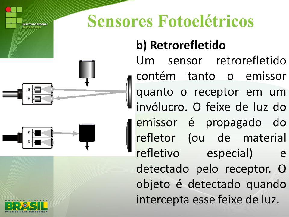 Sensores Fotoelétricos b) Retrorefletido Um sensor retrorefletido contém tanto o emissor quanto o receptor em um invólucro. O feixe de luz do emissor