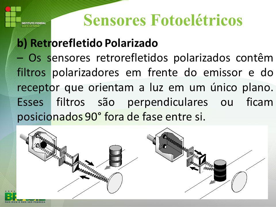Sensores Fotoelétricos b) Retrorefletido Polarizado – Os sensores retrorefletidos polarizados contêm filtros polarizadores em frente do emissor e do r