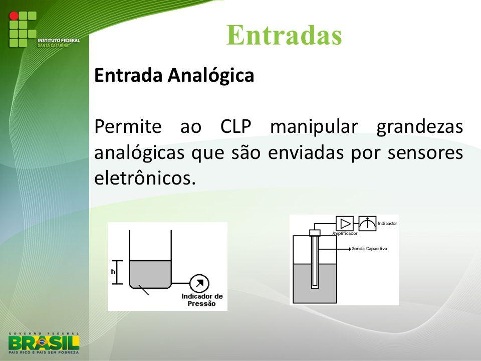 Entradas Entrada Analógica Permite ao CLP manipular grandezas analógicas que são enviadas por sensores eletrônicos.