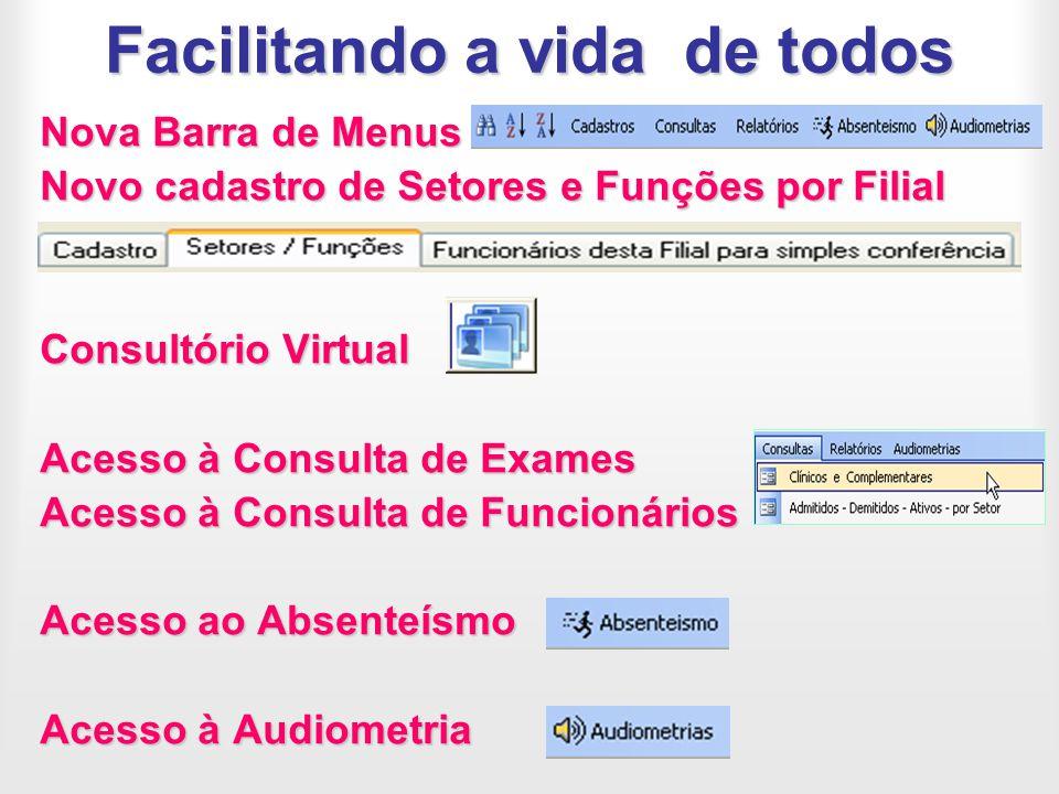 Facilitando a vida de todos Nova Barra de Menus Novo cadastro de Setores e Funções por Filial Consultório Virtual Acesso à Consulta de Exames Acesso à