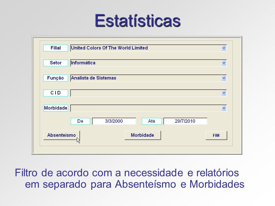 Estatísticas Filtro de acordo com a necessidade e relatórios em separado para Absenteísmo e Morbidades