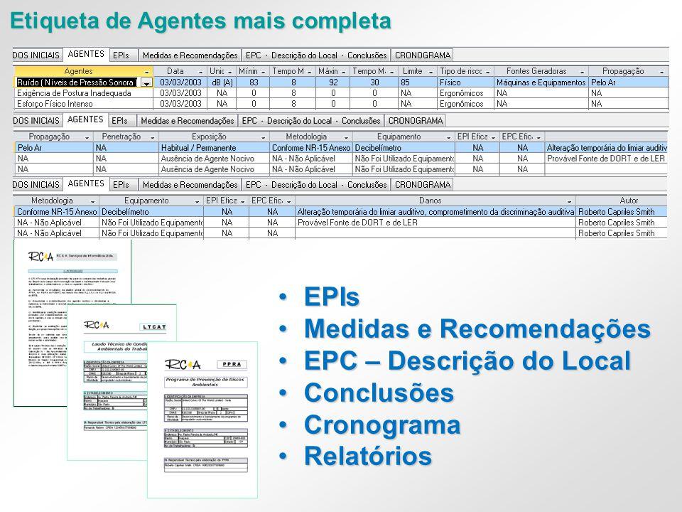 •EPIs •Medidas e Recomendações •EPC – Descrição do Local •Conclusões •Cronograma •Relatórios Etiqueta de Agentes mais completa