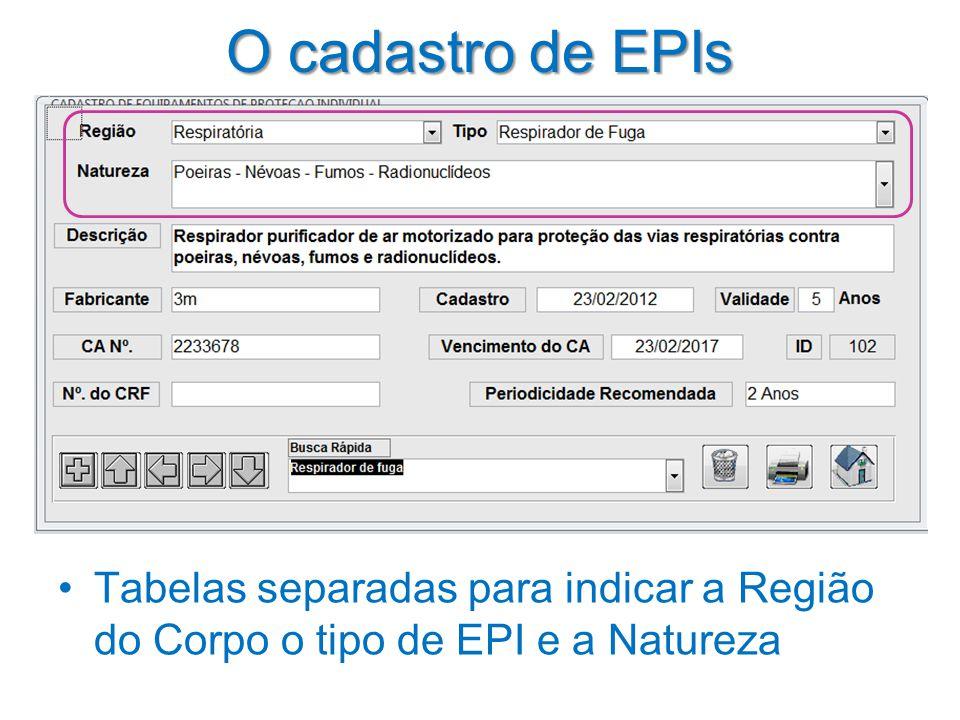 O cadastro de EPIs •Tabelas separadas para indicar a Região do Corpo o tipo de EPI e a Natureza
