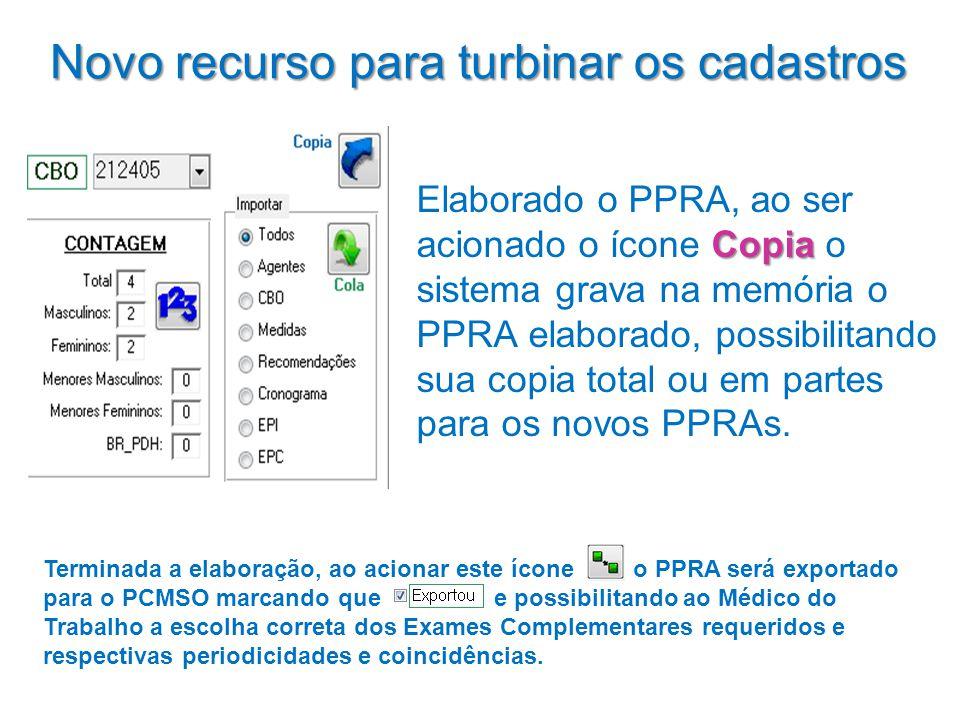 Novo recurso para turbinar os cadastros Copia Elaborado o PPRA, ao ser acionado o ícone Copia o sistema grava na memória o PPRA elaborado, possibilita