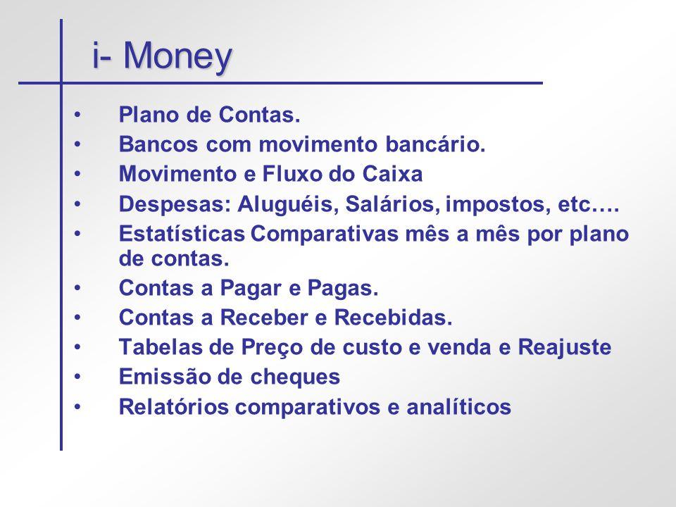 i- Money •Plano de Contas. •Bancos com movimento bancário. •Movimento e Fluxo do Caixa •Despesas: Aluguéis, Salários, impostos, etc…. •Estatísticas Co