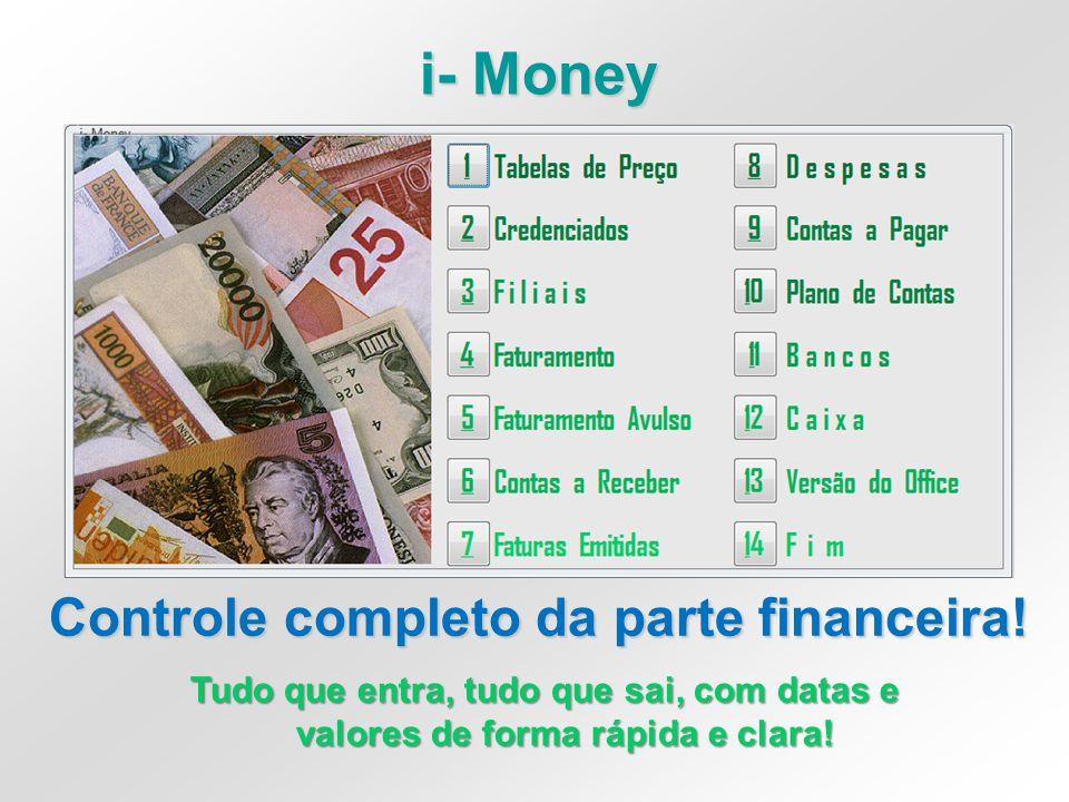 i- Money Controle completo da parte financeira! Tudo que entra, tudo que sai, com datas e valores de forma rápida e clara!