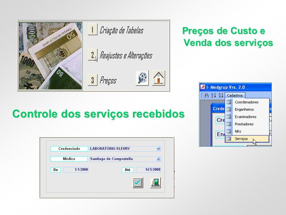 Preços de Custo e Venda dos serviços Controle dos serviços recebidos