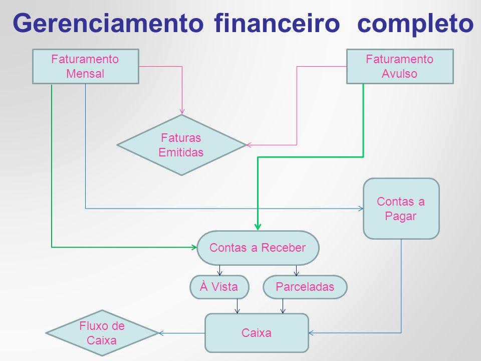 Gerenciamento financeiro completo Faturamento Mensal Faturamento Avulso Faturas Emitidas Contas a Receber Contas a Pagar À VistaParceladas Caixa Fluxo