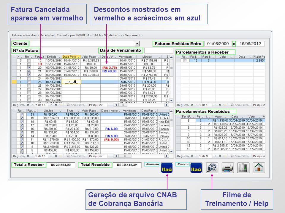 Fatura Cancelada aparece em vermelho Descontos mostrados em vermelho e acréscimos em azul Filme de Treinamento / Help Geração de arquivo CNAB de Cobra