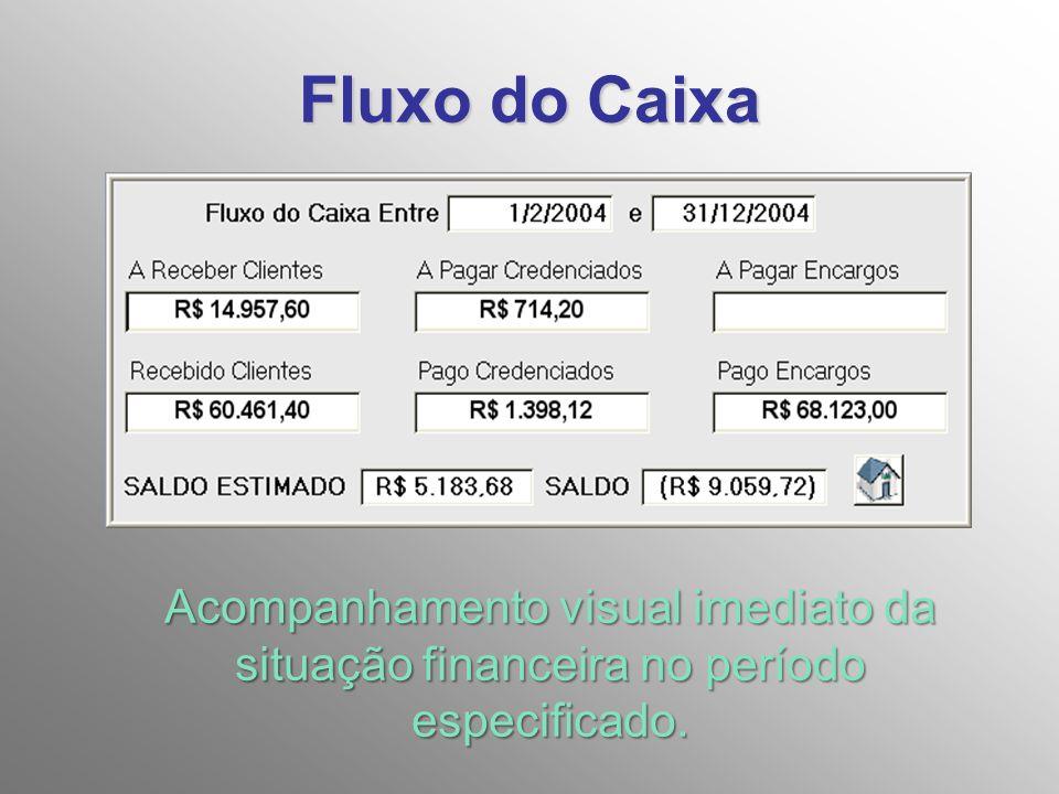 Fluxo do Caixa Acompanhamento visual imediato da situação financeira no período especificado.