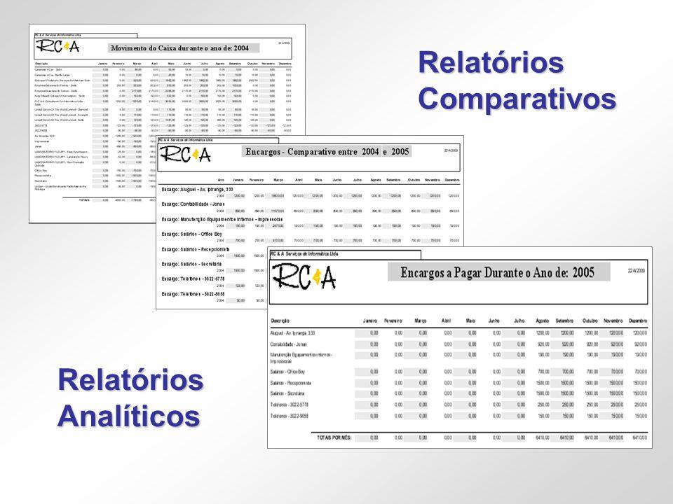 Relatórios Comparativos Relatórios Analíticos