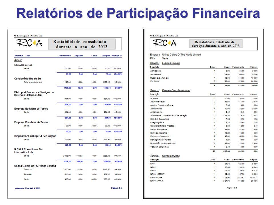 Relatórios de Participação Financeira