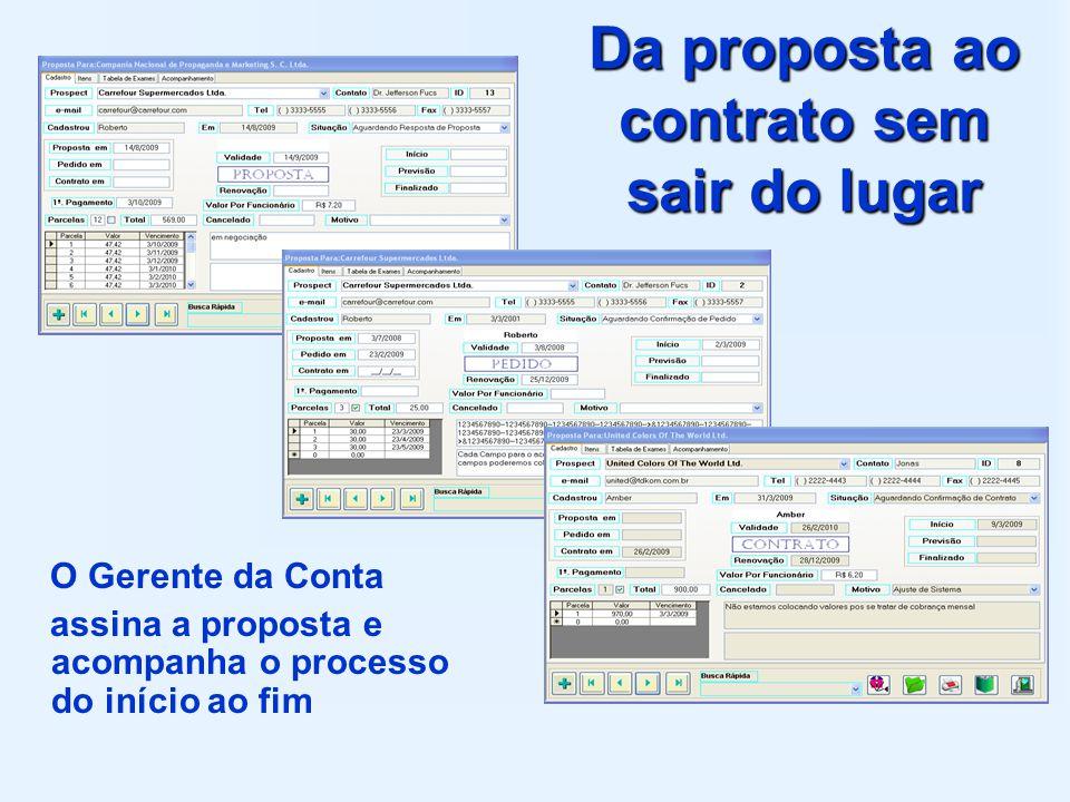 Da proposta ao contrato sem sair do lugar O Gerente da Conta assina a proposta e acompanha o processo do início ao fim