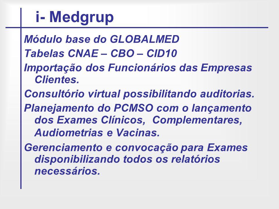 Módulo base do GLOBALMED Tabelas CNAE – CBO – CID10 Importação dos Funcionários das Empresas Clientes. Consultório virtual possibilitando auditorias.