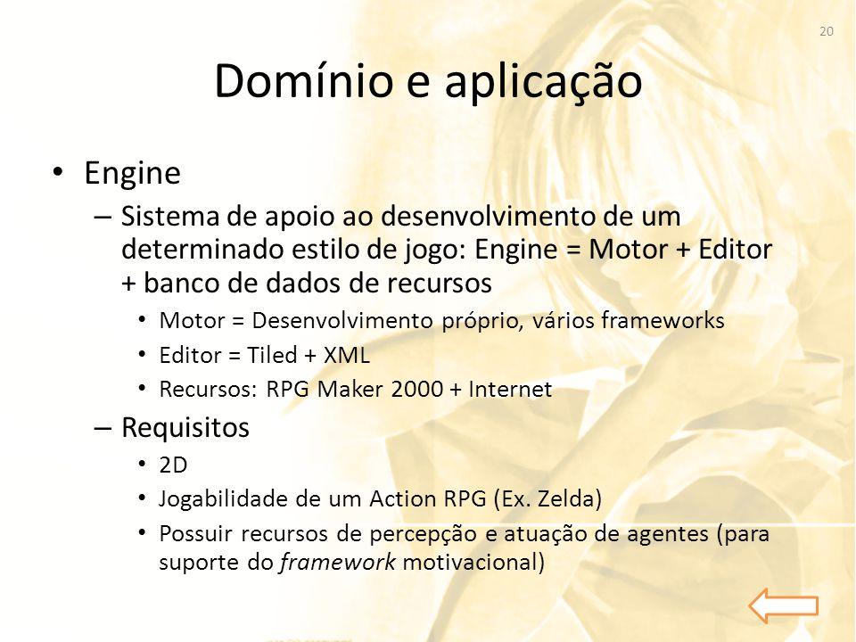 Domínio e aplicação • Engine – Sistema de apoio ao desenvolvimento de um determinado estilo de jogo: Engine = Motor + Editor + banco de dados de recur