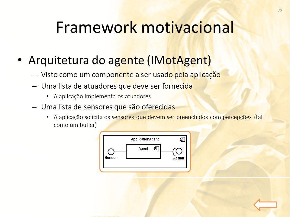 Framework motivacional • Arquitetura do agente (IMotAgent) – Visto como um componente a ser usado pela aplicação – Uma lista de atuadores que deve ser