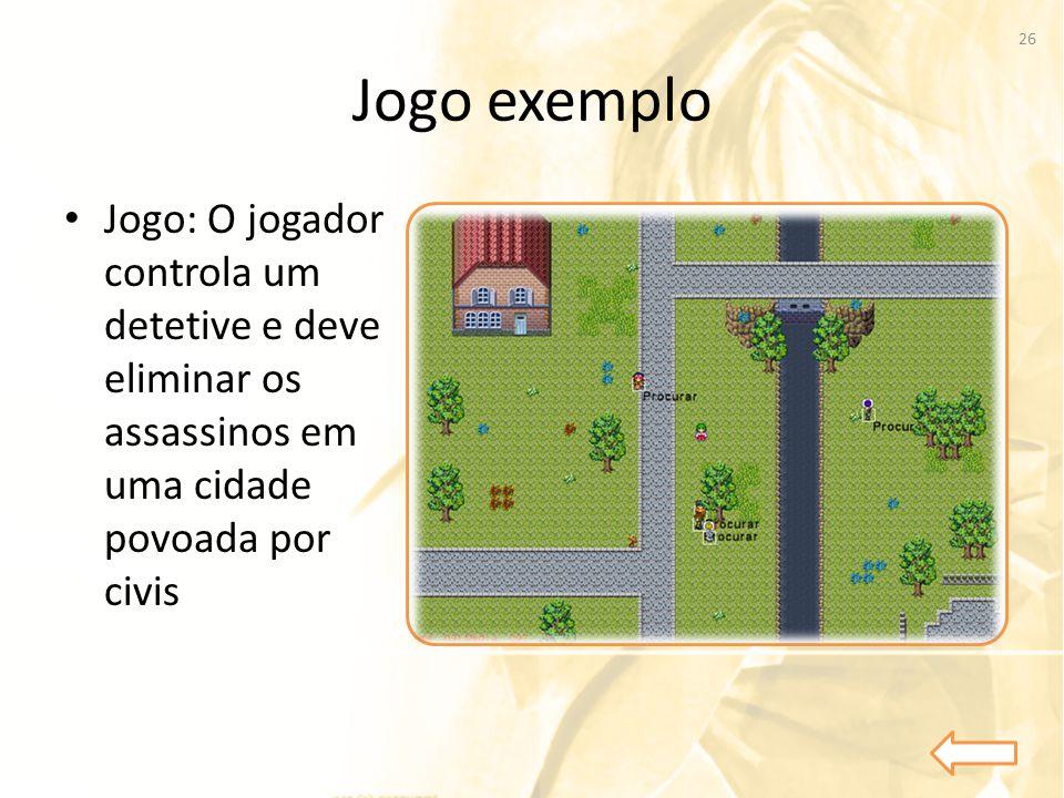 Jogo exemplo • Jogo: O jogador controla um detetive e deve eliminar os assassinos em uma cidade povoada por civis 26