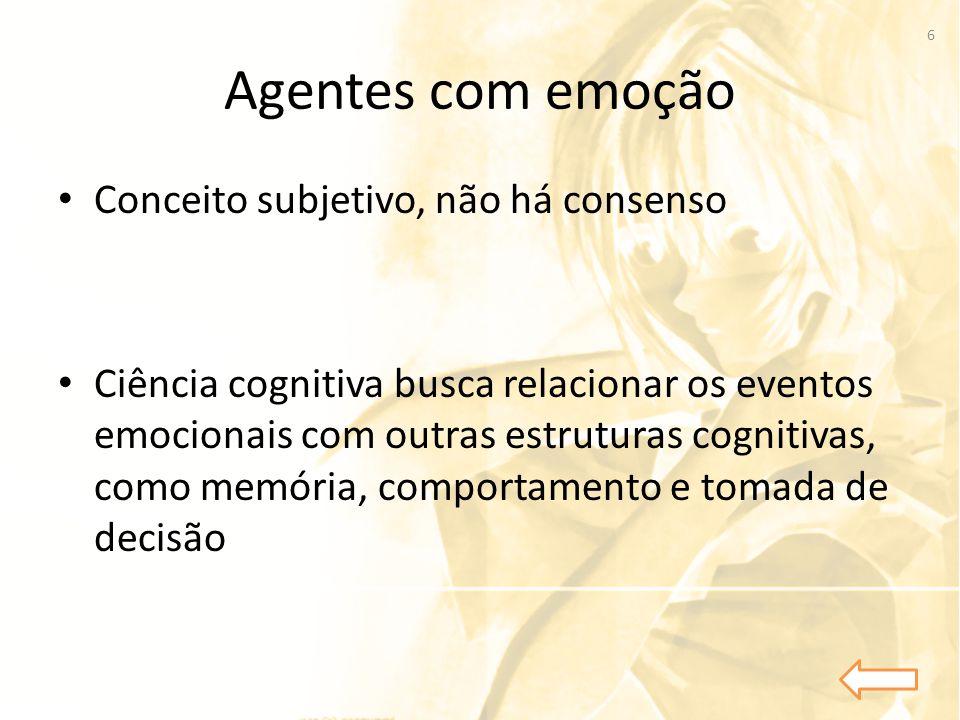 Agentes com emoção • Conceito subjetivo, não há consenso • Ciência cognitiva busca relacionar os eventos emocionais com outras estruturas cognitivas,