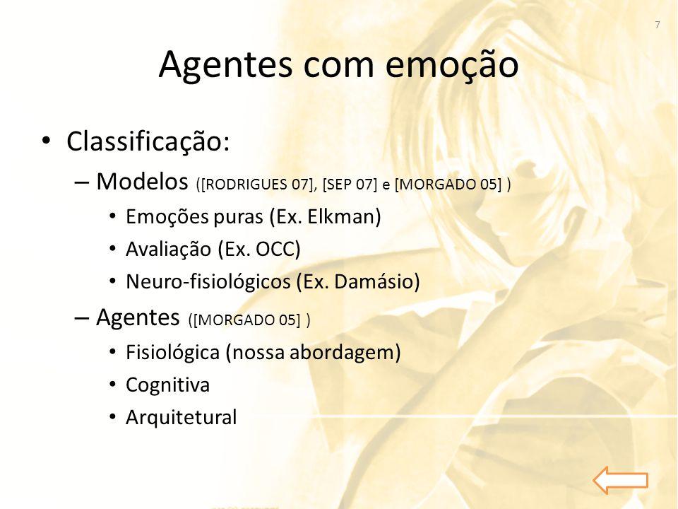 Agentes com emoção • Classificação: – Modelos ([RODRIGUES 07], [SEP 07] e [MORGADO 05] ) • Emoções puras (Ex. Elkman) • Avaliação (Ex. OCC) • Neuro-fi