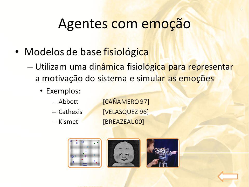 Agentes com emoção • Modelos de base fisiológica – Utilizam uma dinâmica fisiológica para representar a motivação do sistema e simular as emoções • Ex