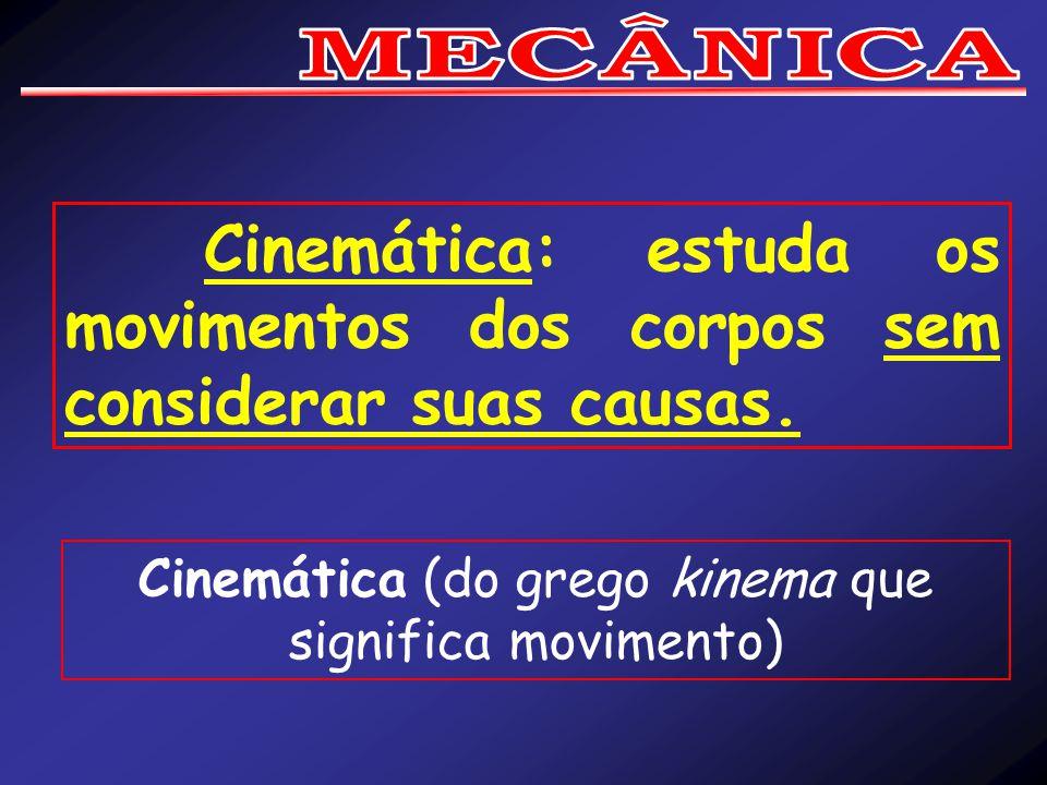 Cinemática: estuda os movimentos dos corpos sem considerar suas causas.