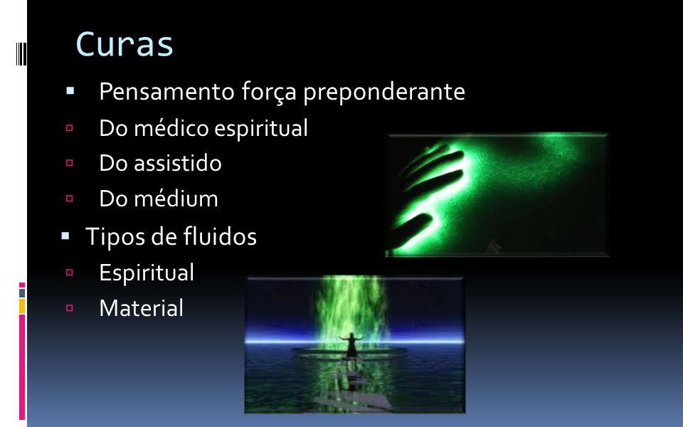 Curas  Pensamento força preponderante  Do médico espiritual  Do assistido  Do médium  Tipos de fluidos  Espiritual  Material