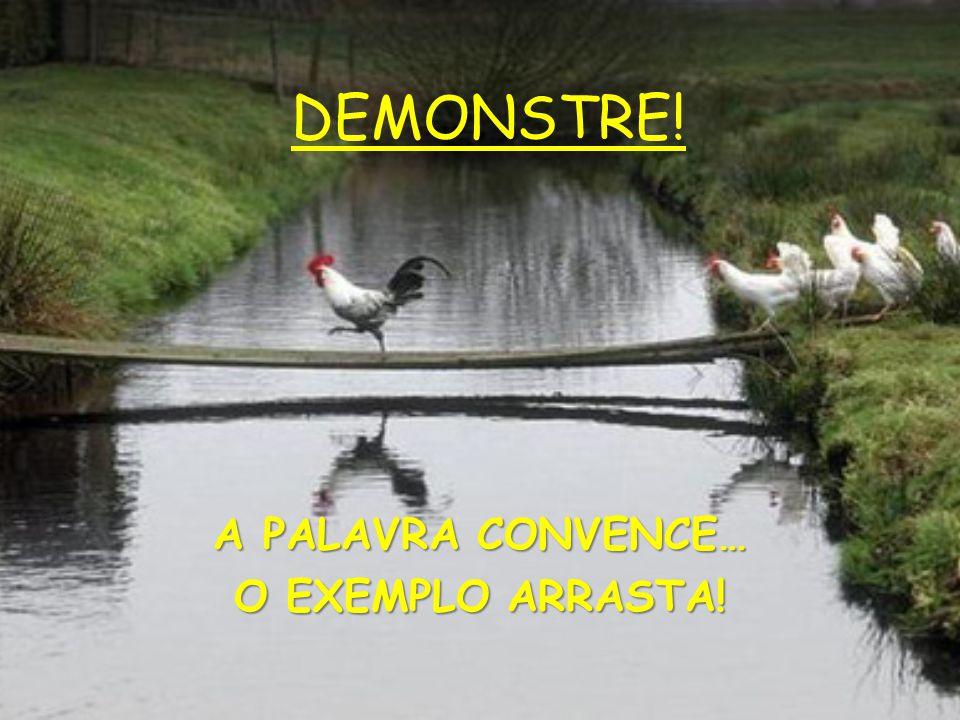 DEMONSTRE! A PALAVRA CONVENCE… O EXEMPLO ARRASTA!