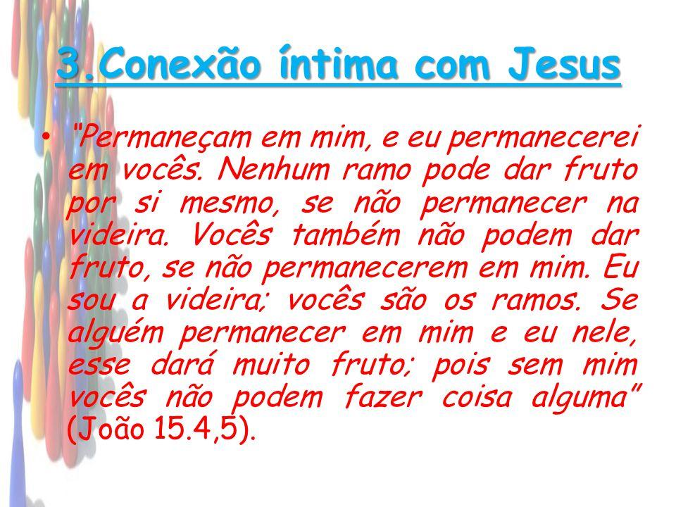 """3.Conexão íntima com Jesus • """"Permaneçam em mim, e eu permanecerei em vocês. Nenhum ramo pode dar fruto por si mesmo, se não permanecer na videira. Vo"""