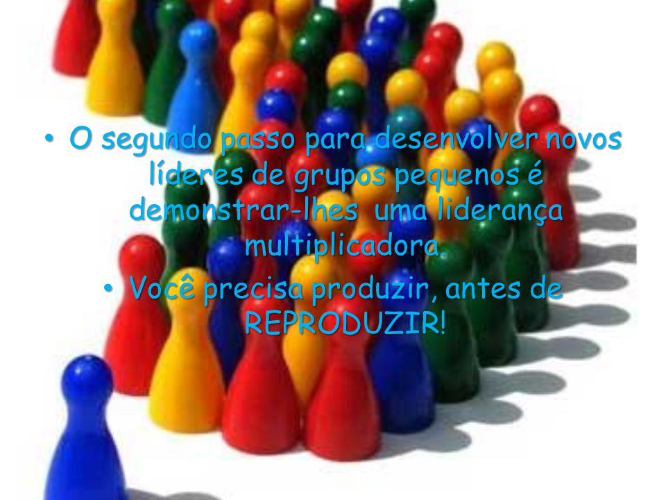 • O segundo passo para desenvolver novos líderes de grupos pequenos é demonstrar-lhes uma liderança multiplicadora. • Você precisa produzir, antes de