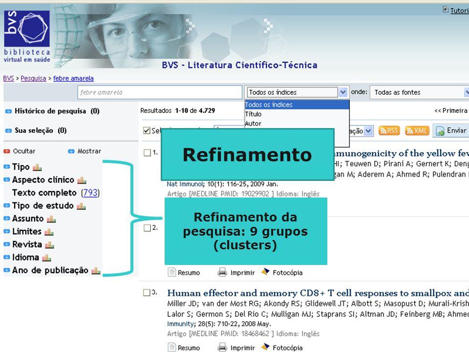 Refinamento da pesquisa: 9 grupos (clusters) Refinamento