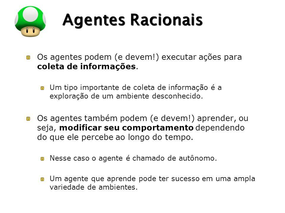 LOGO Agentes Racionais Os agentes podem (e devem!) executar ações para coleta de informações. Um tipo importante de coleta de informação é a exploraçã