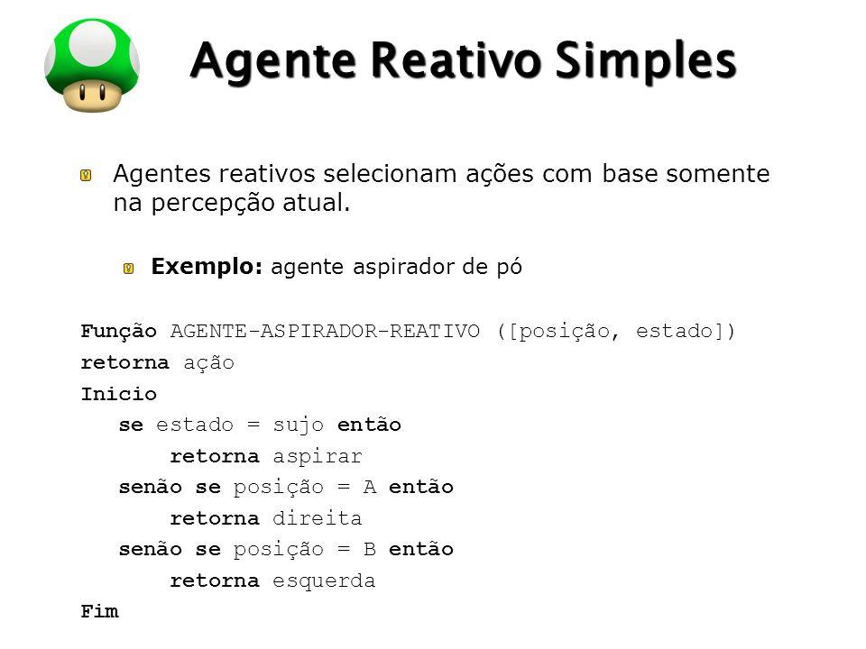 LOGO Agente Reativo Simples Agentes reativos selecionam ações com base somente na percepção atual. Exemplo: agente aspirador de pó Função AGENTE-ASPIR