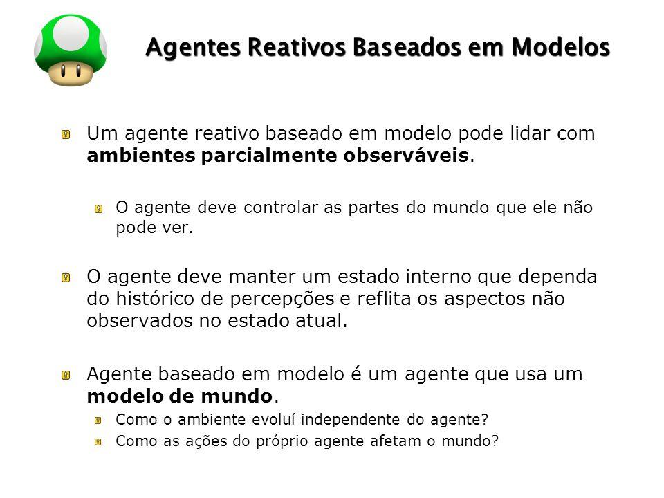 LOGO Agentes Reativos Baseados em Modelos Um agente reativo baseado em modelo pode lidar com ambientes parcialmente observáveis. O agente deve control