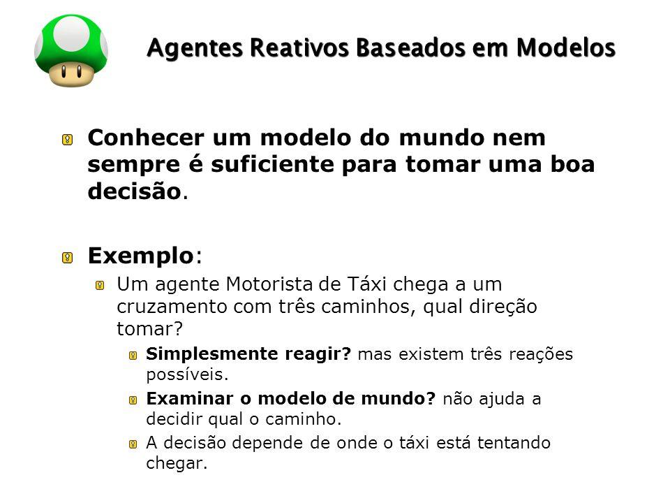 LOGO Agentes Reativos Baseados em Modelos Conhecer um modelo do mundo nem sempre é suficiente para tomar uma boa decisão. Exemplo: Um agente Motorista