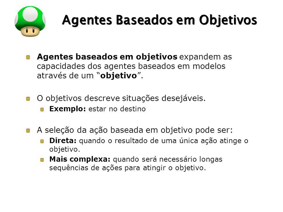"""LOGO Agentes Baseados em Objetivos Agentes baseados em objetivos expandem as capacidades dos agentes baseados em modelos através de um """"objetivo"""". O o"""