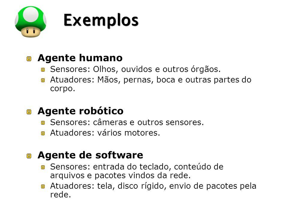 LOGO Exemplos Agente humano Sensores: Olhos, ouvidos e outros órgãos. Atuadores: Mãos, pernas, boca e outras partes do corpo. Agente robótico Sensores