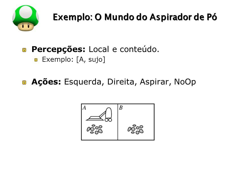 LOGO Exemplo: O Mundo do Aspirador de Pó Percepções: Local e conteúdo. Exemplo: [A, sujo] Ações: Esquerda, Direita, Aspirar, NoOp