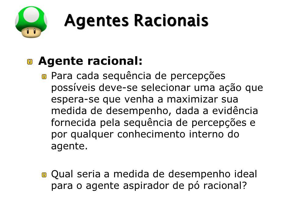 LOGO Agentes Racionais Agente racional: Para cada sequência de percepções possíveis deve-se selecionar uma ação que espera-se que venha a maximizar su