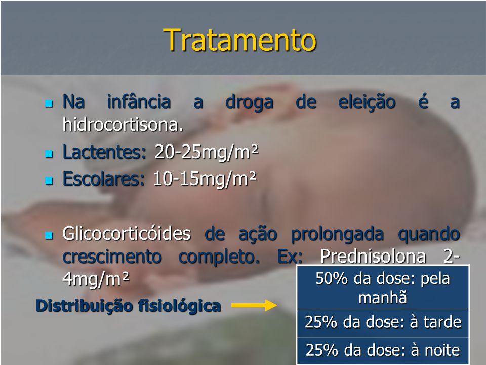 Tratamento  Na infância a droga de eleição é a hidrocortisona.  Lactentes: 20-25mg/m²  Escolares: 10-15mg/m²  Glicocorticóides de ação prolongada