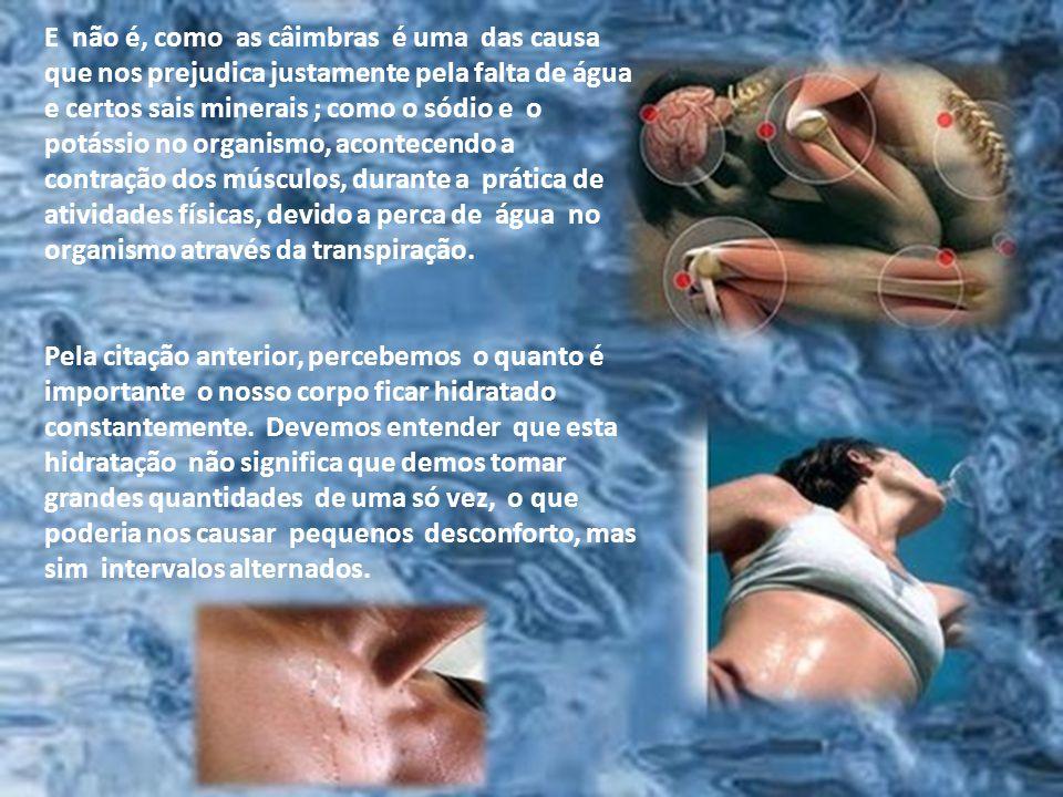 A hidratação do nosso corpo é indispensável, caso contrário sua pele ficará ressecada, o intestino irá parar de funcionar, sentimos certas dores que m