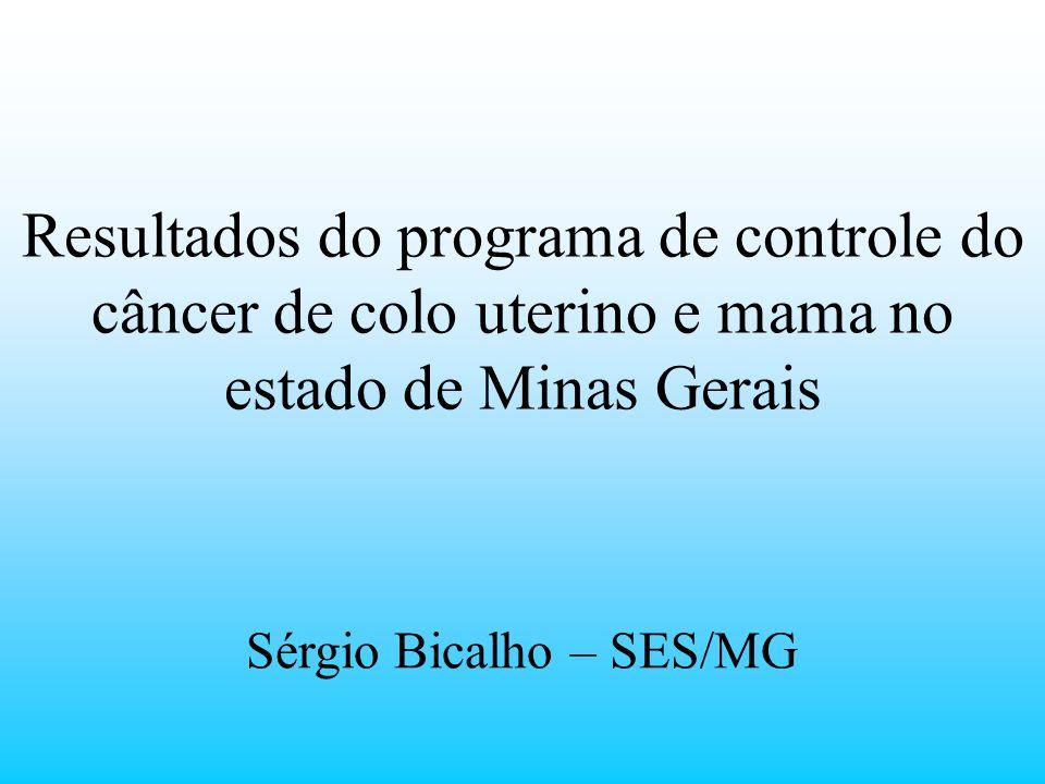 Resultados do programa de controle do câncer de colo uterino e mama no estado de Minas Gerais Sérgio Bicalho – SES/MG