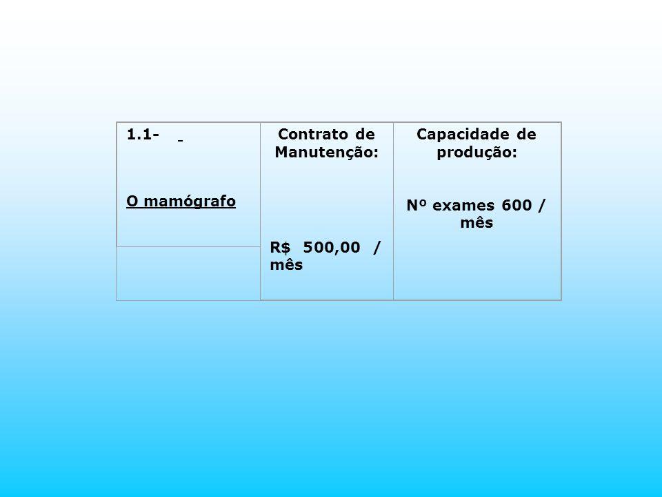 1.1- O mamógrafo Contrato de Manutenção: R$ 500,00 / mês Capacidade de produção: Nº exames 600 / mês
