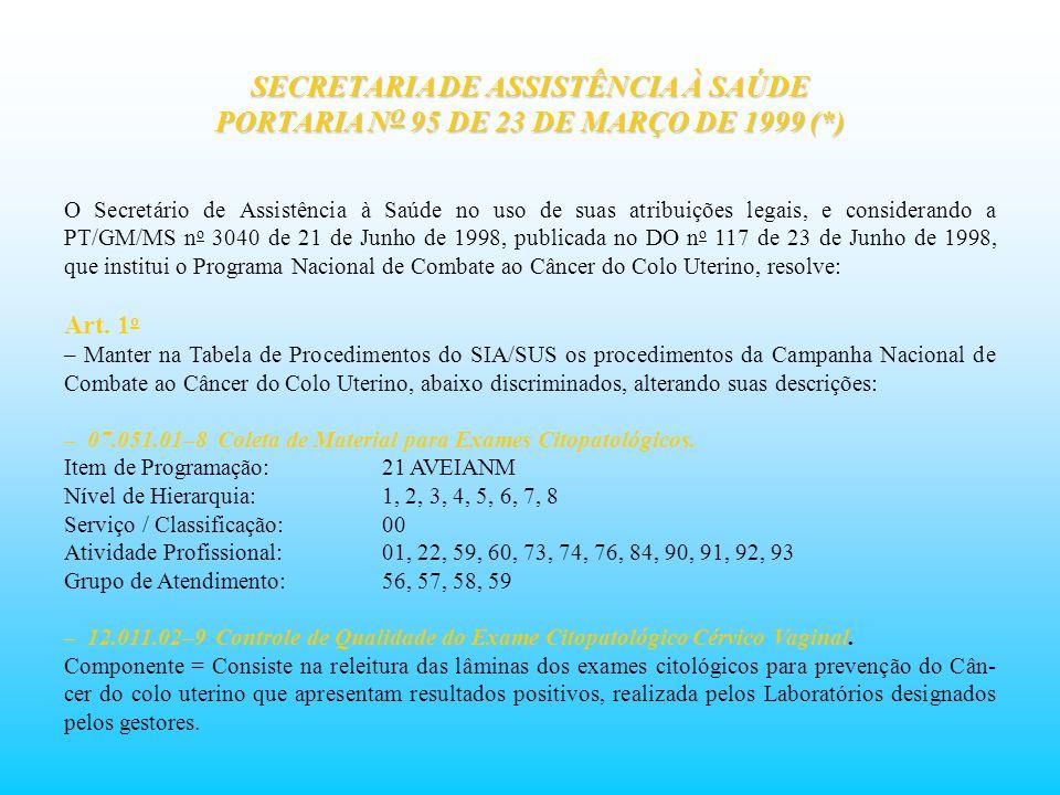 SECRETARIA DE ASSISTÊNCIA À SAÚDE PORTARIA N O 95 DE 23 DE MARÇO DE 1999 (*) O Secretário de Assistência à Saúde no uso de suas atribuições legais, e
