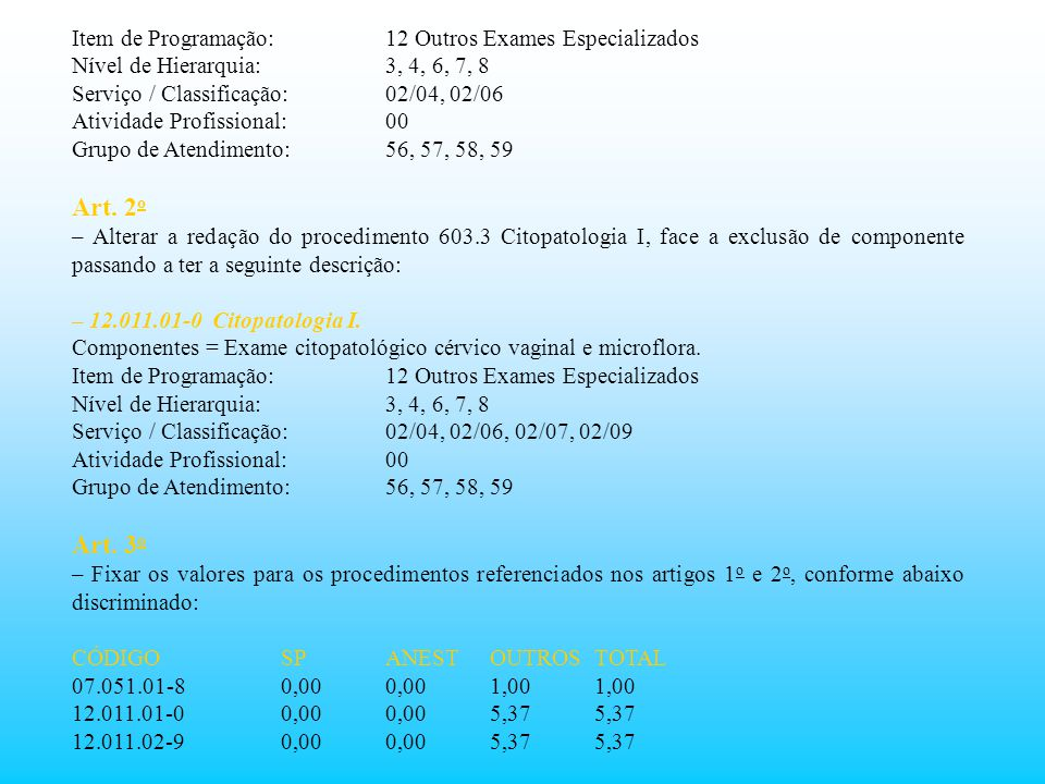 Item de Programação:12 Outros Exames Especializados Nível de Hierarquia:3, 4, 6, 7, 8 Serviço / Classificação:02/04, 02/06 Atividade Profissional:00 G