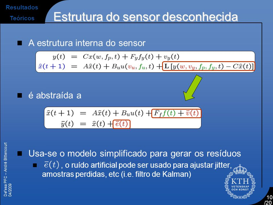 Defesa PFC – André Bittencourt 04/2009 /20 10  A estrutura interna do sensor  é abstraída a  Usa-se o modelo simplificado para gerar os resíduos ,