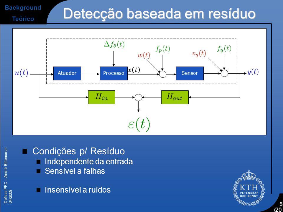 Defesa PFC – André Bittencourt 04/2009 /20 5 SensorProcessoAtuador Detecção baseada em resíduo Background Teórico  Condições p/ Resíduo  Independent