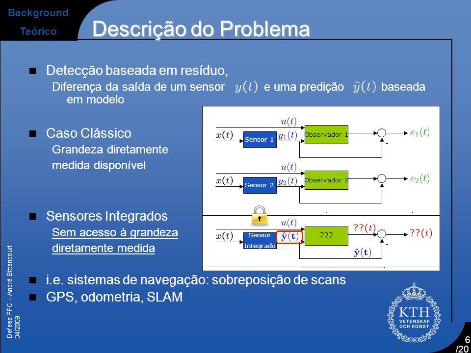Defesa PFC – André Bittencourt 04/2009 /20 6  Detecção baseada em resíduo, Diferença da saída de um sensor e uma predição baseada em modelo  Caso Cl
